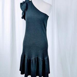 Rebecca Taylor Navy Ruffled One Shoulder Dress
